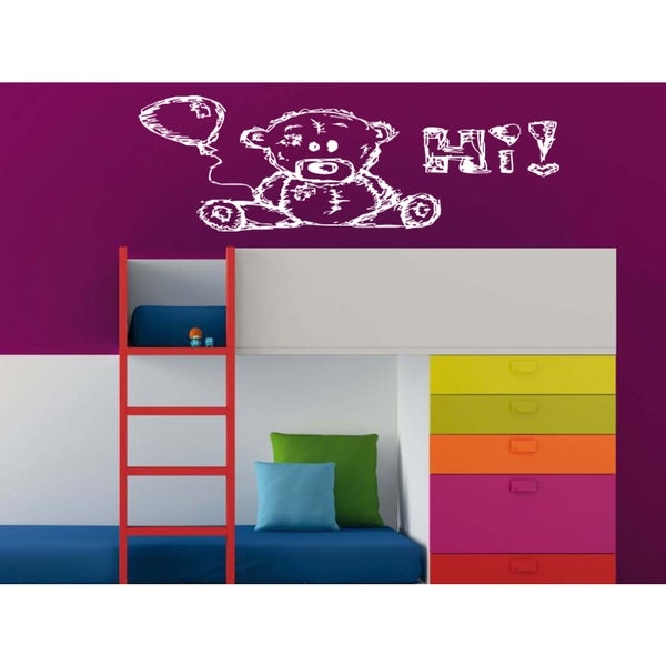 Teddy-bear zoo Hi balloon Wall Art Sticker Decal White