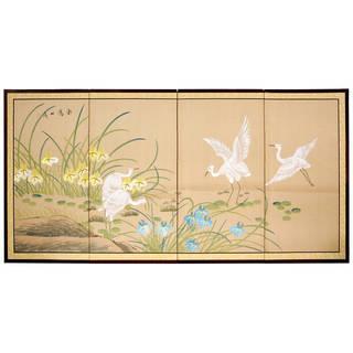 Handmade Birds on the Pond Shoji Silkscreen