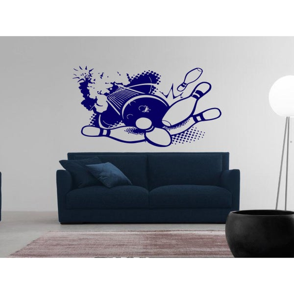 Bowling ball knocks down skittles Wall Art Sticker Decal Blue