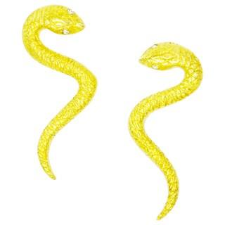 Betty Carre 18k Gold Overlay Snake Cubic Zirconia Earrings