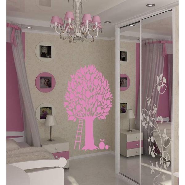 Apple tree and ladder Wall Art Sticker Decal Pink