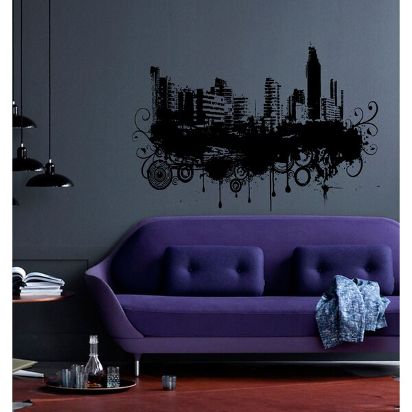 Big city home town landscape Wall Art Sticker Decal