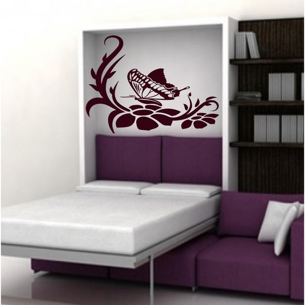 Butterfly on a flower Wall Art Sticker Decal Red