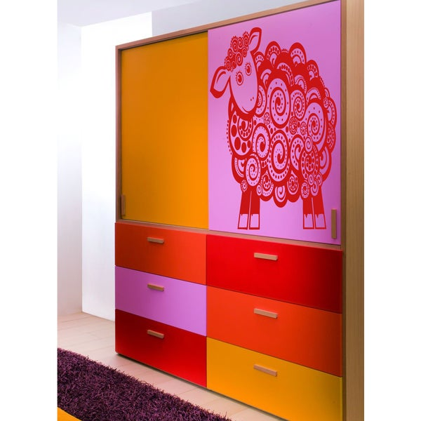 Beautiful lamb Wall Art Sticker Decal Red