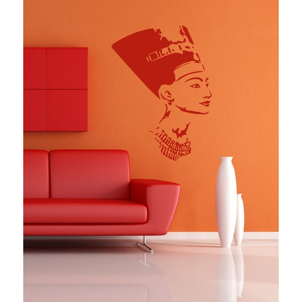 Nefertiti Egypt Girl woman beauty Wall Art Sticker Decal Red