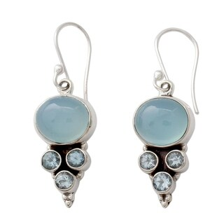 Sterling Silver 'Bubbling Stream' Topaz Chalcedony Earrings (India)