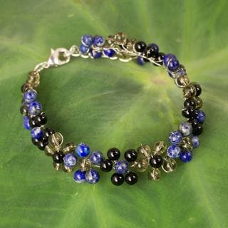 Silver Plate 'Midnight Blossoms' Multi-gemstone Bracelet (Thailand)