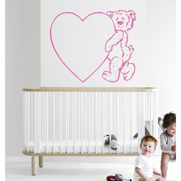 Teddy bear with a heart Wall Art Sticker Decal Pink
