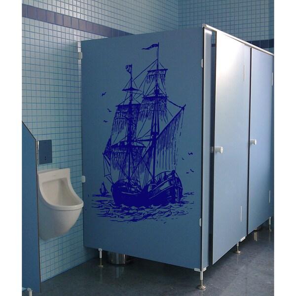 A ship at sea Wall Art Sticker Decal Blue