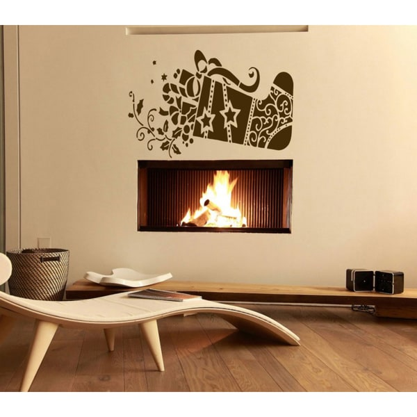 Christmas sock with presents Wall Art Sticker Decal Brown