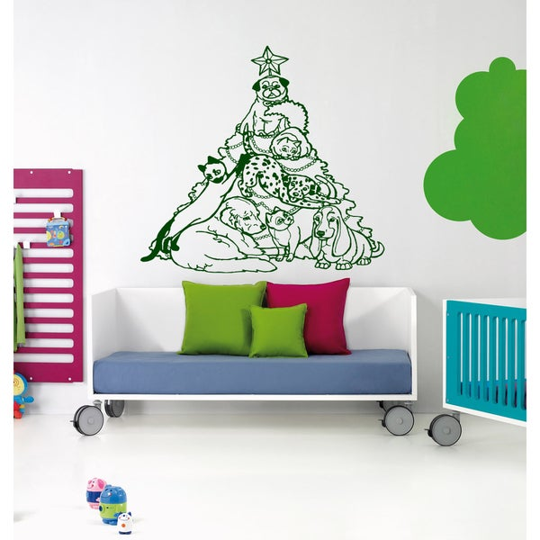 Christmas tree of the dogs Wall Art Sticker Decal Green
