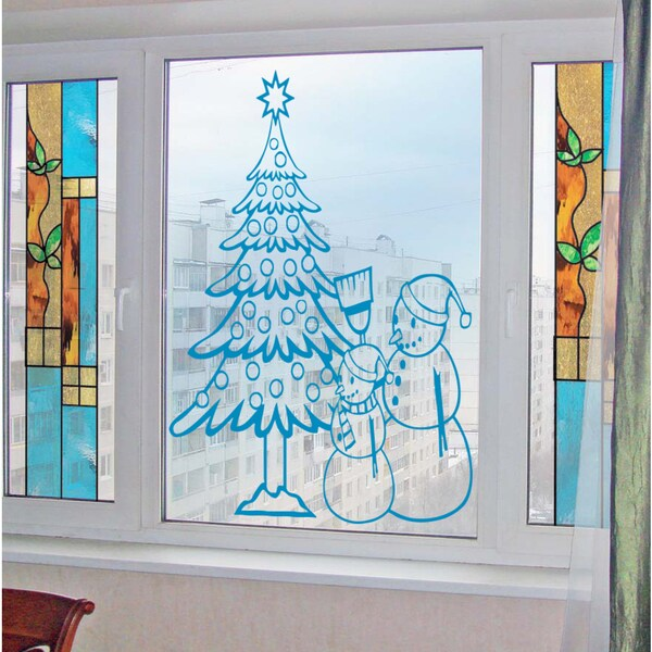 Snowman at the Christmas tree Wall Art Sticker Decal Blue