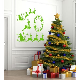 Christmas reindeer in the night Wall Art Sticker Decal Green