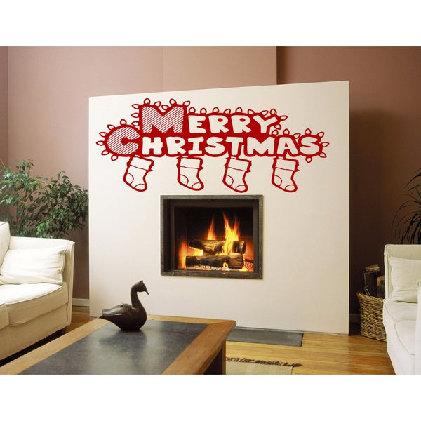 Merry Christmas socks with gifts Wall Art Sticker Decal Red