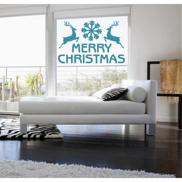 Merry Christmas Reindeer and snowflake Wall Art Sticker Decal Blue