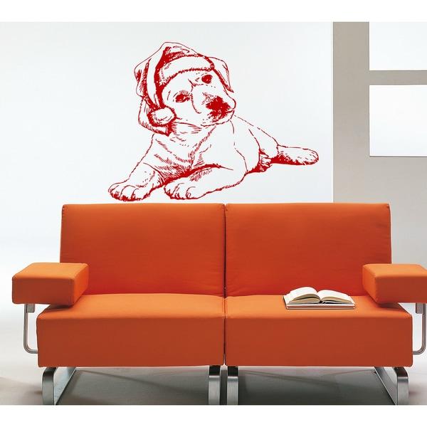Dog Santa Claus Wall Art Sticker Decal Red