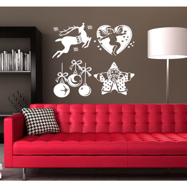 Merry Christmas Santa Claus deer toys angel Wall Art Sticker Decal White