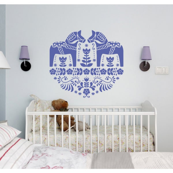 Horse animal pony flowers Wall Art Sticker Decal Purple