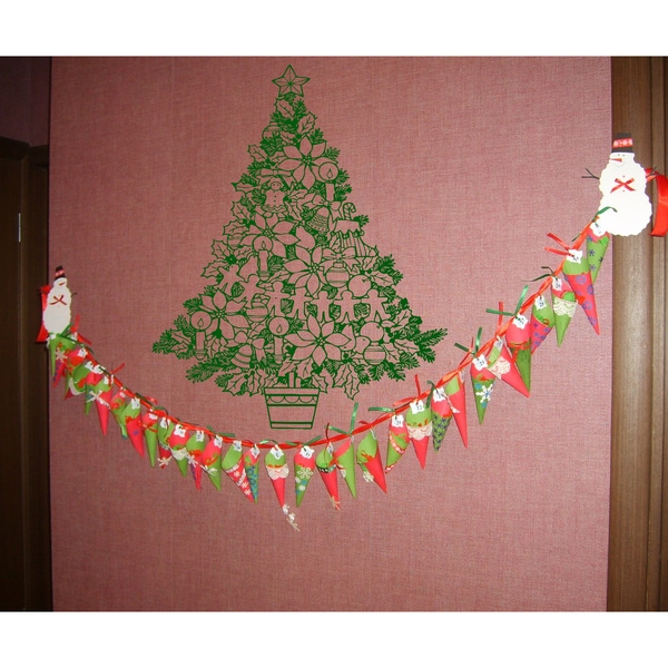 Fairytale Christmas Tree Wall Art Sticker Decal Green