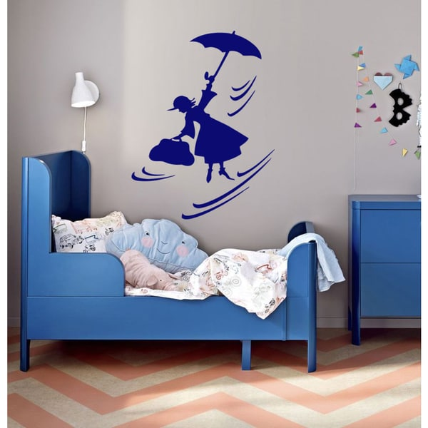 Fairy Tale Fairy and babysitting Wall Art Sticker Decal Blue