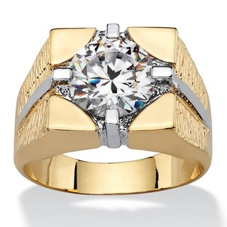 PalmBeach 14k Gold-Plated Men's Cubic Zirconia Signet-Style Square Ring