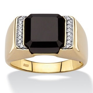 PalmBeach 18k Gold over Silver Men's Square-cut Genuine Black Onyx and Cubic Zirconia Accent Classic Ring