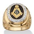 PalmBeach 14k Gold Overlay Men's 1/3ct TGW Enamel and Cubic Zirconia Masonic Nugget Ring