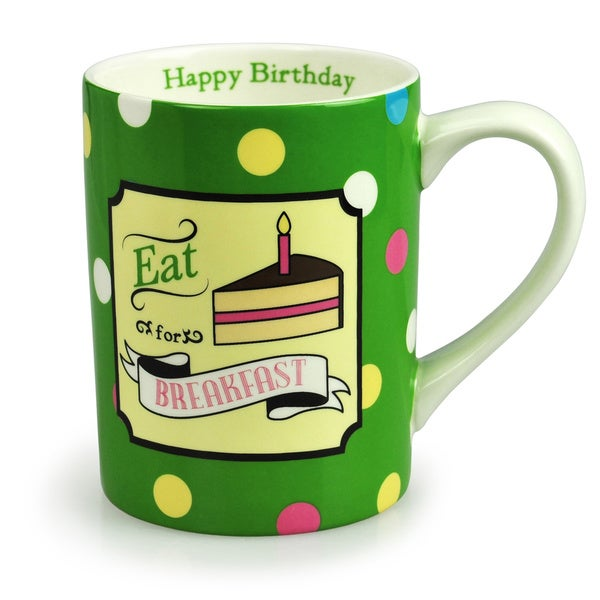 Kityu Gift Eat Cake for Breakfast Ceramic 16-ounce Mug