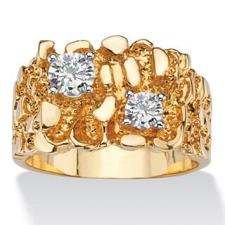 PalmBeach 14k Gold Overlay Men's 1 1/10ct TGW Round Cubic Zirconia Nugget Ring
