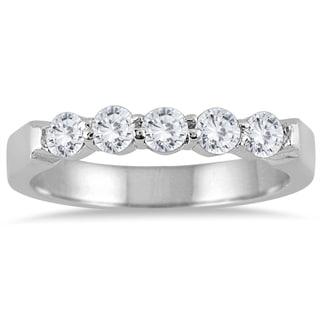 Marquee Jewels 10k White Gold 1/2ct TDW Diamond 5 Stone Band (J-K, I2-I3)