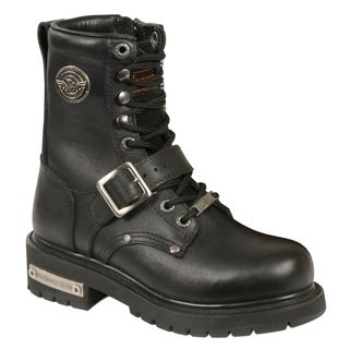 Women's Black Leather Buckle and Lace-up Side-zipper Motorcycle Boots