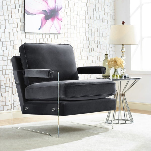 Serena Grey Velvet/ Lucite Chair
