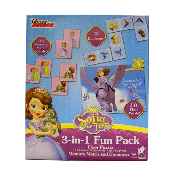 Disney Sofia the First 3-in-1 Puzzle, Floor Dominoes, Memory Match Game