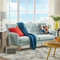 MID-CENTURY LIVING Niels Danish Modern Curved Tufted Upholstered Sofa