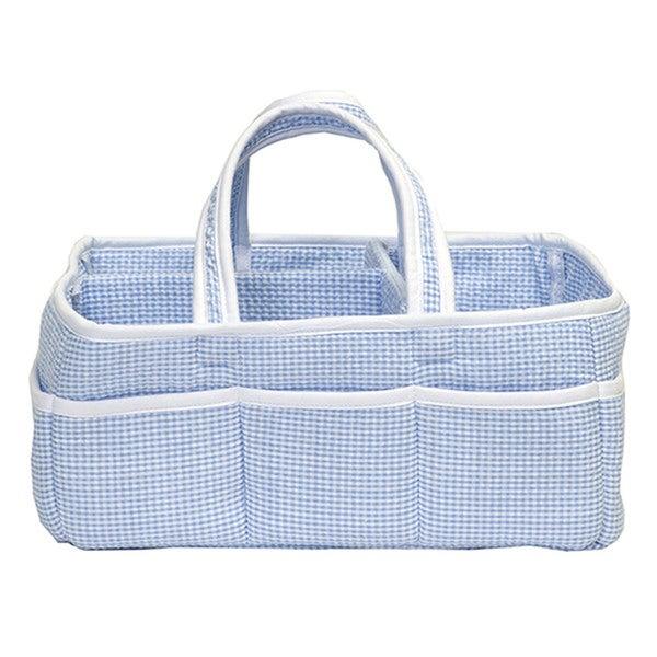 Trend Lab Baby Gingham Seersucker Blue Cotton-Blended Storage Caddy