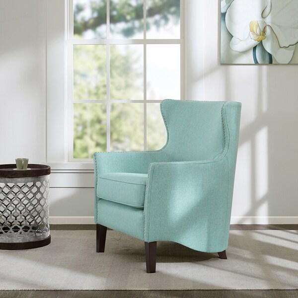 Madison Park Reid Light Blue Swoop Base Club Chair
