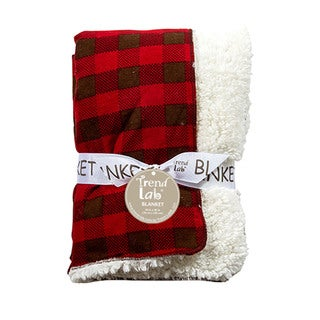 Trend Lab Baby Northwoods Red Flannel Faux-Shearling Receiving Blanket