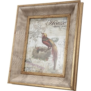 Tan-colored Wood and Synthetic Leather 15 x 13 Photo Frame with 8 x 10 Opening