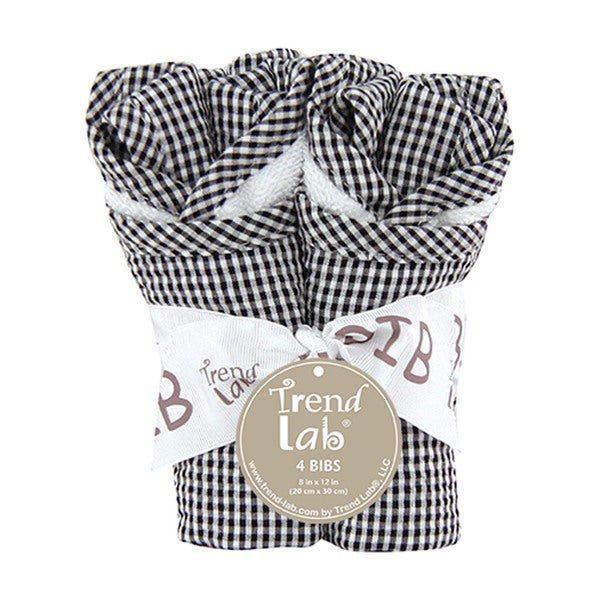 Trend Lab Baby Gingham Seersucker Black 4 Pack Bib Set