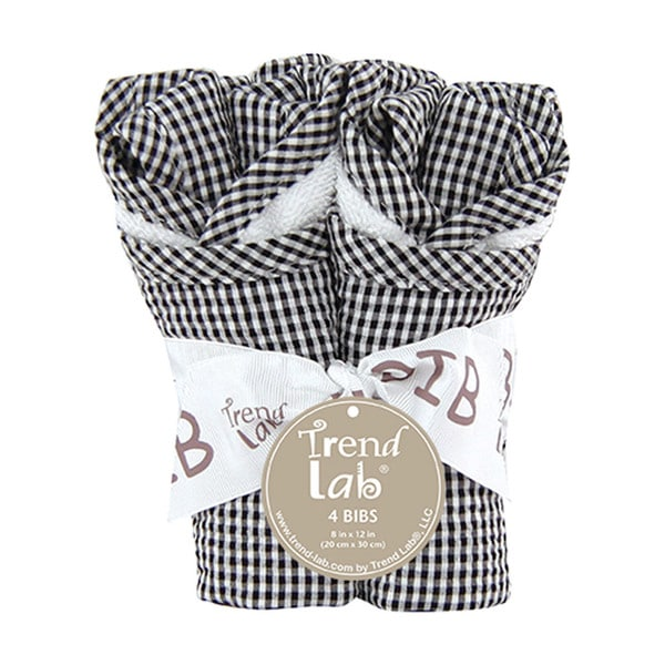 Trend Lab Baby Gingham Seersucker Black 4 Pack Bib Set