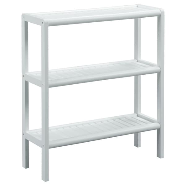 New Ridge Home Abingdon White Solid Birch Wood 3-shelf Console/ Shoe Rack