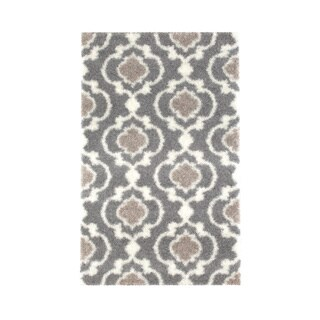 Cozy Moroccan Trellis Grey/Cream Polypropylene Shag Area Rug (3'3 x 5')