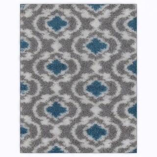 Cozy Moroccan Trellis Grey/Turquoise Indoor Shag Area Rug (7'10 x 10')
