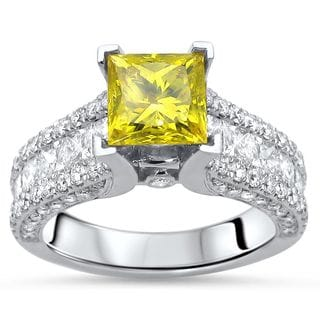 Noori Certified 14k Gold 2 3/5ct TDW Princess-cut Yellow Diamond Engagement Ring (F-G, SI1-SI2)