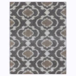 Cozy Moroccan Trellis Grey/Cream Indoor Shag Area Rug (7'10 x 10')