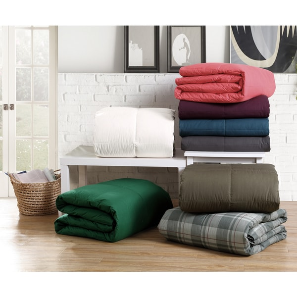 VCNY Solid Color Cotton Down Alternative Comforter