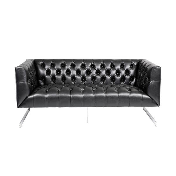 Sunpan Viper Black Leather Loveseat