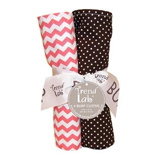Trend Lab Baby Cocoa Coral 4 Pack Burp Cloth Set