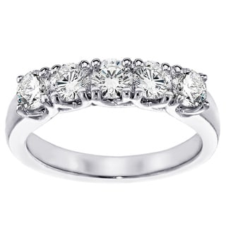 Platinum 1ct TDW Diamond Brilliant Cut Five Stone Band (G-H, SI1-SI2)