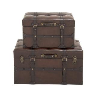 Classy Wood Polyurethane Leather Trunk (Set of 2)
